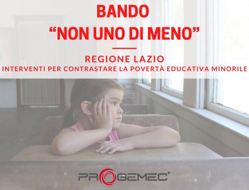 """Bando Regione Lazio """"Non uno di meno"""" – Contrasto alla povertà educativa minorile"""