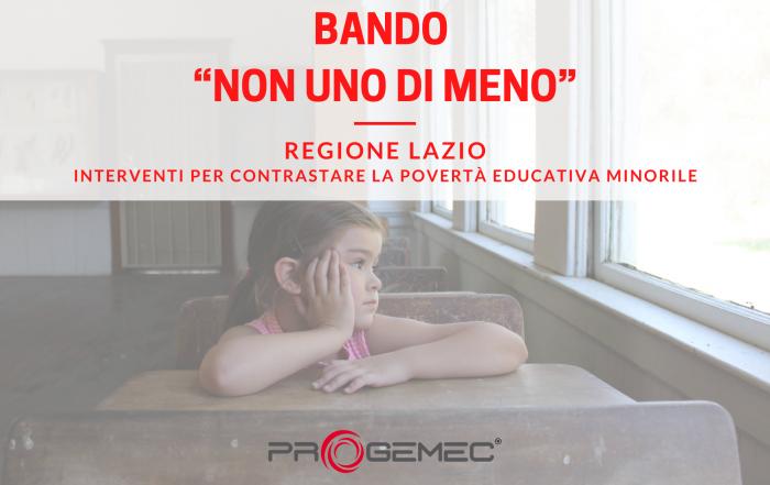 Non Uno Di Meno, bando regione Lazio povertà educativa minorile