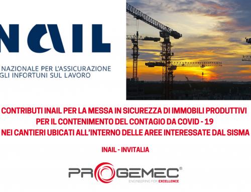 Riapre il bando INAIL per contrastare il COVID19 nei cantieri del sisma Centro-Italia