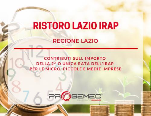 """La Regione Lazio sostiene le imprese del territorio con """"Ristoro Lazio IRAP"""""""